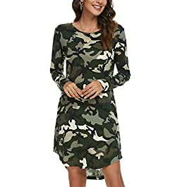 Tivanna Leopard/Camouflage Sleepwear with Up Down Hem Maternity Dresses with Side Pockets