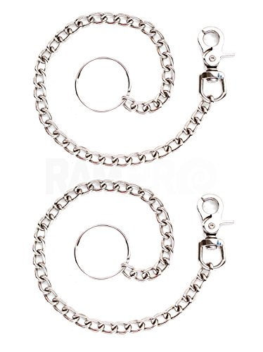 "2 Chrome Steel 18"" Wallet Chain Trigger Snap Hook & 2"" Split Ring - Biker Trucker Rocker Hipster Fashion"