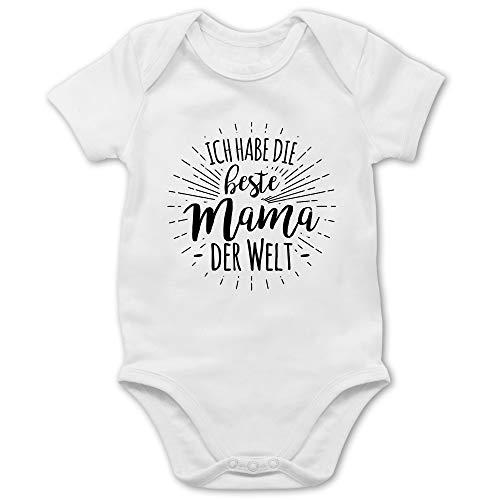 Sprüche Baby - Ich Habe die Beste Mama der Welt - 3/6 Monate - Weiß - Baby Mama ist die Beste - BZ10 - Baby Body Kurzarm für Jungen und Mädchen
