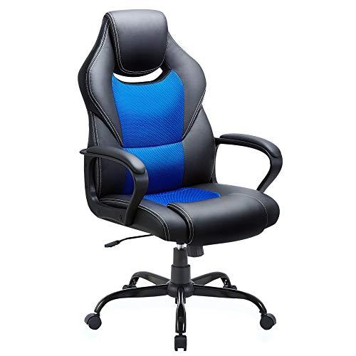BASETBL Bürostuhl Racing Stuhl Gaming Stuhl Sessel Schreibtischstuhl Ergonomisch Drehstuhl Sportsitz bürostuhl mit Rückenlehne, Wippfunktion, Höhenverstellung, gepolsterter Armlehne Chefsessel Blue