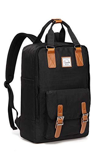 School Backpack for Men and Women,VASCHY Unisex Vintage Water Resistant Casual Daypack Rucksack Bookbag for College Fits 15inch Laptop Black