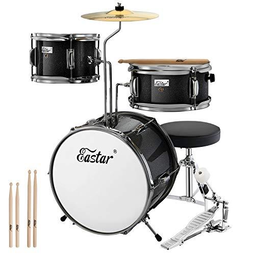 Eastar Schlagzeug Kinder 3-teilig für 3-10 Jahre, Schlagzeug Set mit Snare, Tom, Bass Drum, Bass Drum Pedal, Thron, Becken und Drumsticks, Ideales Geschenk für Teenager Anfänger, Metallisch Schwarz