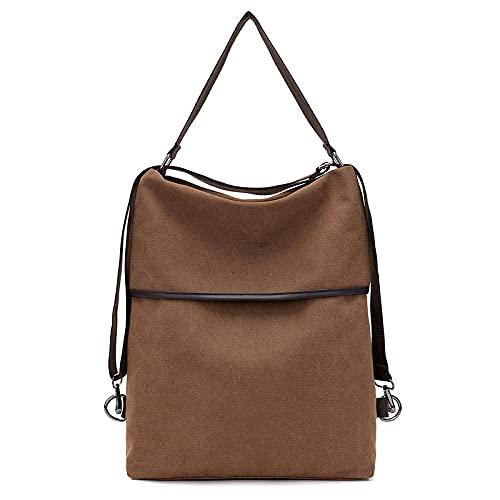 MIMITU Mochila de lona para mujer, bolso de hombro a la moda, bolso escolar de viaje para mochilas para adolescentes, marrón