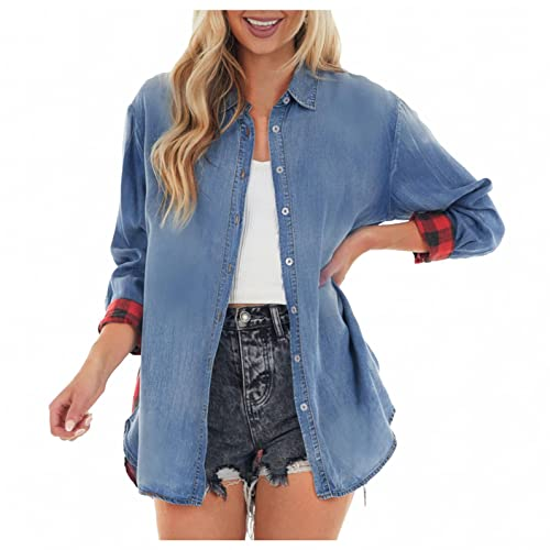 Camisa feminina fashion jeans xadrez patchwork blusa abotoada lapela grande manga comprida casual tops, Azul, XXG