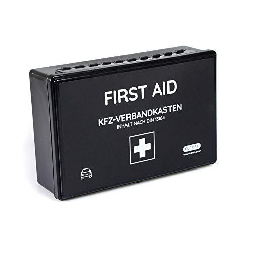 FLEXEO KFZ-Verbandkasten DIN 13164 | Verbandskasten Auto | Erste Hilfe Kasten Auto | Verbandkasten PKW | Motorrad | Erste Hilfe Set Auto | Schwarz