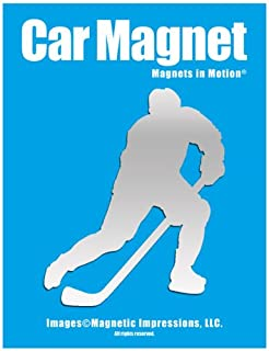 Ice Hockey Player Male Car Magnet Pose 3 Chrome