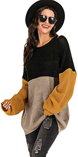 Floerns Women s Colorblock Round Neck Long Sleeve Loose Sweater Top Black XL product image