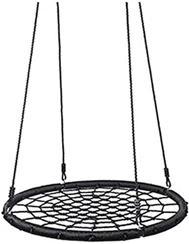 N/Z Inicio Equipamiento Camping Hamaca Redonda Ligera Desmontable Deportes al Aire Libre Red Cuerda de Malla Fácil Montaje para Doble Individual Adultos Niños Silla Perezosa Negra