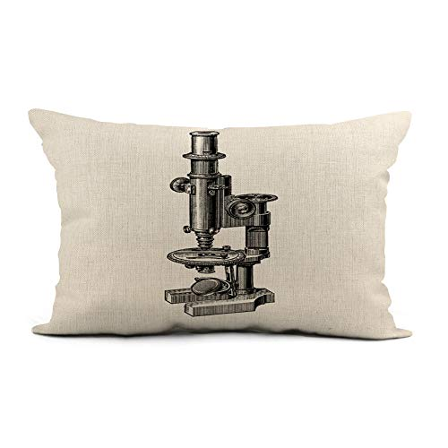 Topyee Throw Pillow Cover 12x20 Inch Equipment Vintage Microscopes Antique Science Scientific Research Biology Retro Home Decor Pillowcase Lumbar Pillow Case Cushion Cover for Sofa Couch Bed