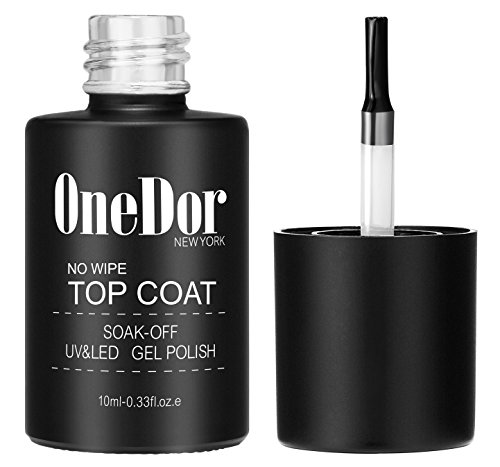 OneDor One Step No Wipe Top Coat Gel Polish, UV Led Cured Required Soak Off Gel Nail Polish (No Wipe Top Coat)
