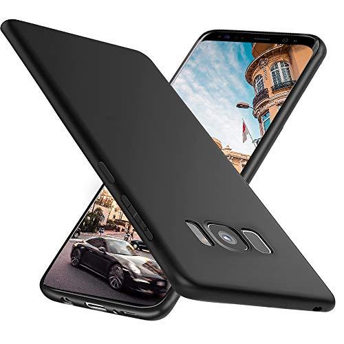 Ylife Kompatibel mit Samsung Galaxy S8 Hülle,Slim Schwarz Fallschutz rutschfest Hochwertig TPU Weiche Schutzhülle,Anti-Kratzer Anti-Fingerabdruck Feine Matte Handyhülle für Samsung Galaxy S8