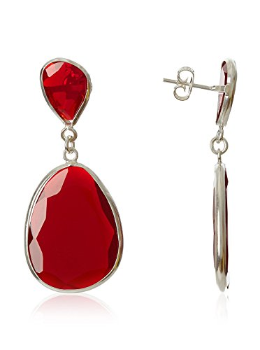 Córdoba Jewels   Pendientes en plata de Ley 925 con piedra semipreciosa. Diseño Luxury Rubí Plata