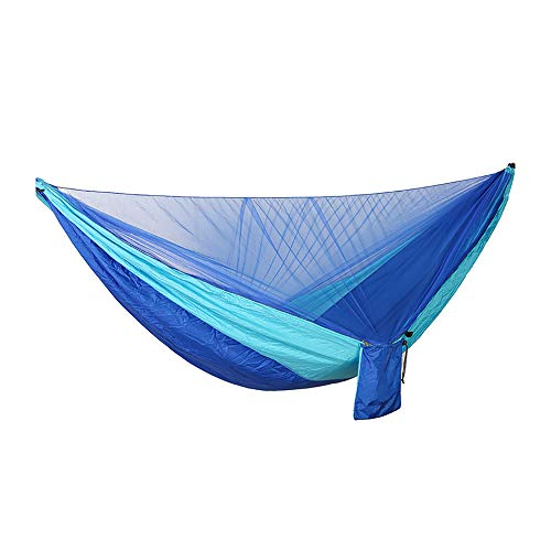 YoudaN Camping muggennet hangmat, draagbare enkele en dubbele parachutehangmat, schommel met touwkarabijnhaak buitenshuis, montagevriendelijke campinghangmat, geschikt voor in de tuin