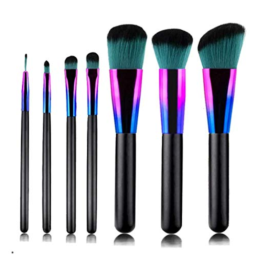 DIAOD 7 Colorful Makeup Brushes Set Gradient Blue Wooden Handle Beauty Makeup Brush Set Eyeshadow Brush