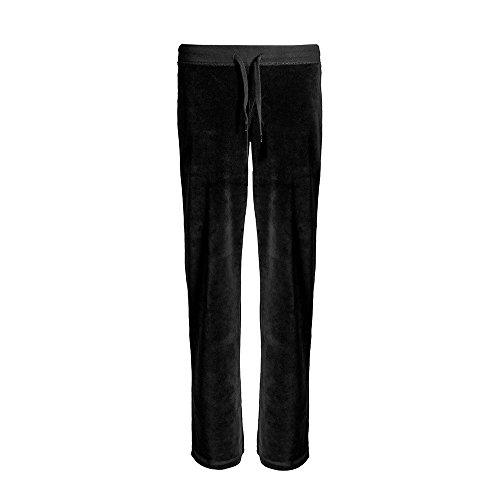 Love Lola - Pantaloni da jogging da donna, in velluto, per abbigliamento da lounge Nero 48-50