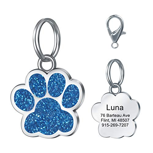 LAOKEAI Personalisiert Haustier ID Tag, Hundemarke mit Gravur aus Legierung, Adresse und Telefonnummer Prickelnde Haustier Marke für Hunde und Katzen(Blau)