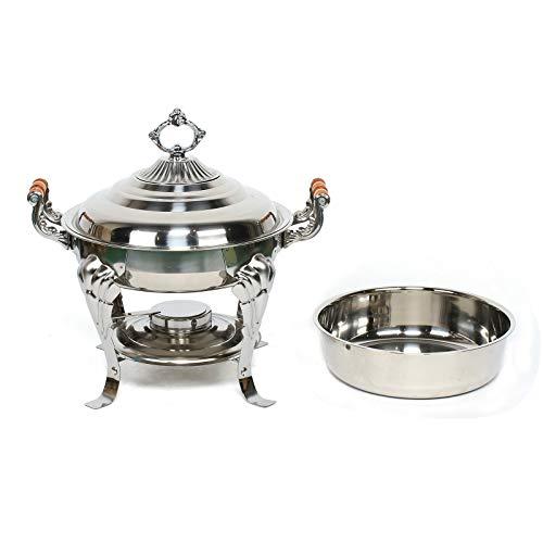 Fetcoi Calentador redondo de acero inoxidable para alimentos Chafing Dish, calentador de alimentos redondo, para catering, bufé, fiesta, 30 cm