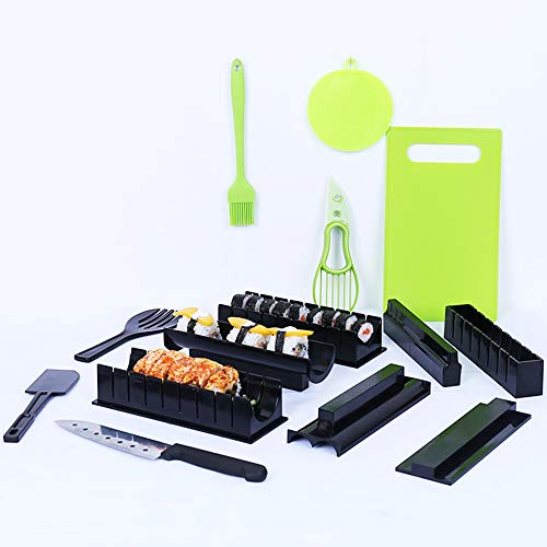 Humorous.P 15 Pieces /Set Sushi Making Kit New DIY Plastic Easy Sushi Maker Machine Set Rice Roller Mold Roller Cutter Kitchen Cooking Tools