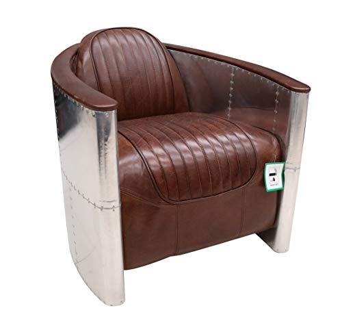 DesignerSofas4u.co.uk - Sedia pilota in alluminio, stile aviatore, fatta a mano, in vera pelle, colore: marrone