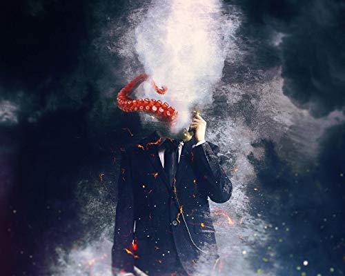 Malen Nach Zahlen DIY Tapete Mann Oktopus Surrealismus Kunst Leinwand Hochzeitsdekoration Kunst Bild Geschenk 40 * 50CM Kein Bilderrahmen
