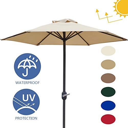 Vicareer Sombrilla De Jardín 2M,Sombrilla De Mesa Impermeable Al Aire, Sombrilla Protector Solar Parasol para Balcón, Patio, Pesca, Sombrilla con 6 Costillas De Acero(Rojo-Six Colores)