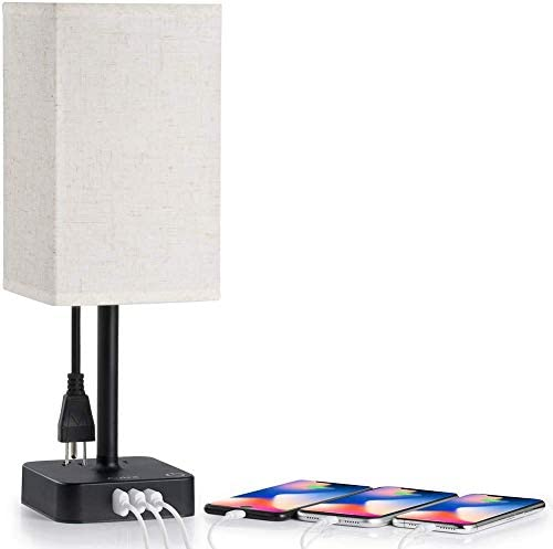 3 Way Touch Control Dimmable Bedside Table Lamp with 3 USB Charging Ports 2 AC Outlets Minimalist product image