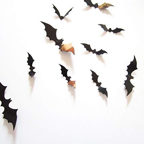 CDSCVDSC Etiqueta De La Pared 12 Unids Pegatinas 3D Diy Bat Etiqueta De La Pared Decal Inicio Decoración De Halloween Duvar Pvc Sticker Room Wallpaper