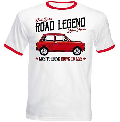 Teesandengines Autobianchi A112 Abarth 70 HP T-Shirt de Hombre con Bordes Rojos Size Xlarge
