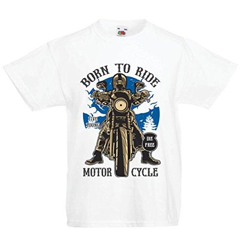 Camiseta Niños/Niñas Live Young - Die Free - Nacido para Montar en Moto, Ideas de Regalos para Ciclistas, Lemas inspiradores (7-8 Years Blanco Multicolor)