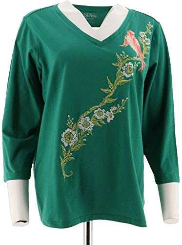 Bob Mackie Embroidered Song Bird V-Neck Top 3/4 Sleeves Emerald XL New A292323