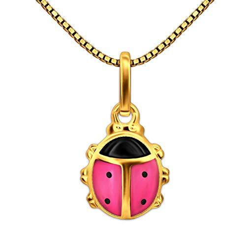 Clever Schmuck Set gouden kinderhanger mini lieveheersbeestje 8 mm roze en zwart gelakt 333 goud 8 karaat en vergulde ketting Venezia 38 cm