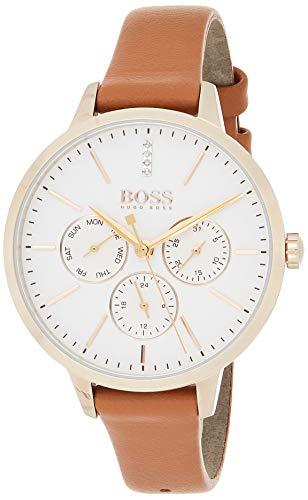 Hugo Boss Unisex Multi-wijzerplaat kwarts horloge met lederen armband 1502420