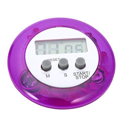 gfjfghfjfh Mignon Mini Compteur Numérique Maison Cuisine Ronde Écran LCD Cuisson Numérique Compte À Rebours Compte À Rebours Alarme - Violet