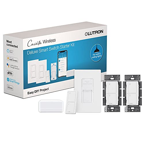 Lutron Caseta Deluxe Smart Switch Kit   Compatible with Alexa, Apple HomeKit, and the Google Assistant   P-BDG-PKG2WS-WH   White