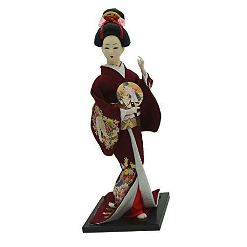 F Fityle Modelo Muñeca Kimono Japonesa Geisha Escala 1/6 - Vino Tinto