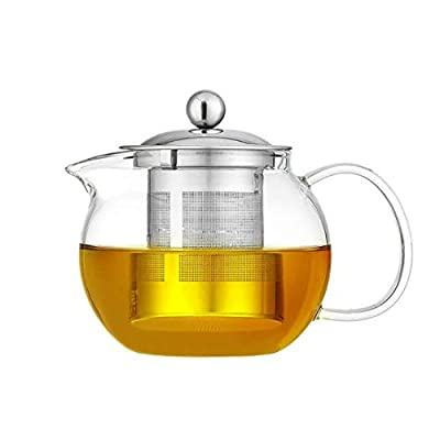 Glass Teapot with Stainless Steel Infuser & Lid, Borosilicate Glass Tea Kettle Stovetop Safe, Blooming & Loose Leaf Teapot,Glass Round Pot (450ML/15oz)
