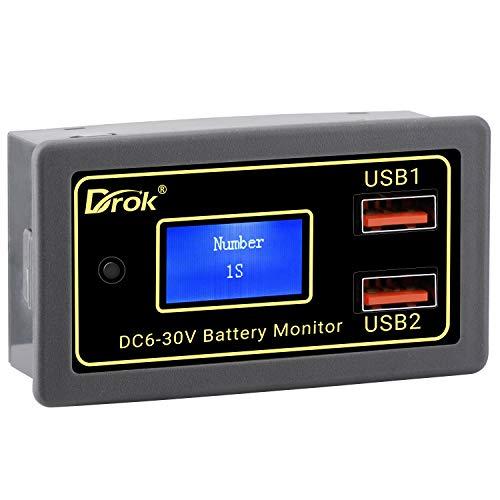 Droking Battery Monitor für Auto, DC 6V-30V Batteriekapazität Prozent Spannungsmesser, 12V 24V Motorradbatterie Voltmeter mit USB-Anschluss Unterstützung Schnellladeausgang 3V-12V 5V 9V