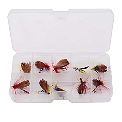 Kingus 10 pcs Artificial Flies Lure Fly Fishing Dry Insect Bait Flying Hooks Butterfly Tackle Realistic Fishing Accessories by Kingus