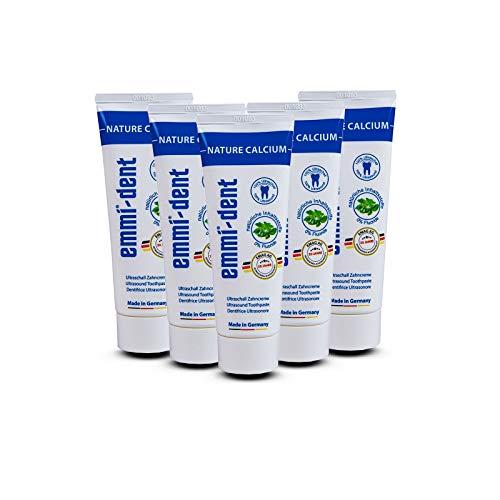 emmi®-dent Zahnpasta für Ultraschallzahnbürsten – Nature Calcium – mit Sogwirkung, 75 ml (5 Stück)