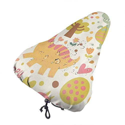 Waterproof Bike Seat Cover Funny Cartoon Dinosaur Floral Cute Animal (J) Mountain Road Bicycle Seat Rain Covers Uv Sun Dust Water Resistant Bike Saddle Cushion Protector Cover For Unisex Adults Women
