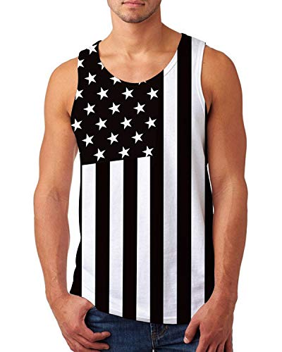 uideazone American Flag Tank Vintage 4th of July USA Flag Tank Top Men's Singlet Tees Sleeveless Graphic Tank Top 2X-Large