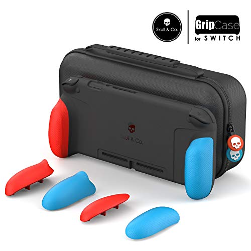 Skull & Co. GripCase Set: A Dockable Protective Case with Replaceable Grips [to fit All Hands Sizes] for Nintendo Switch - Neon Red & Blue