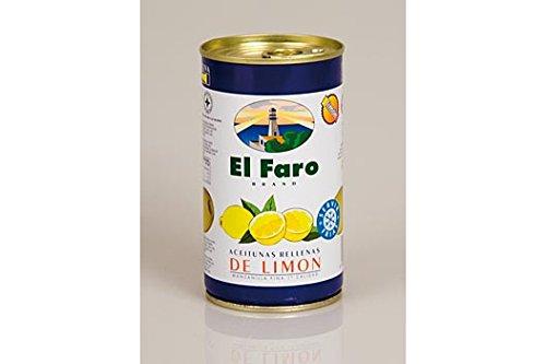 Grüne Oliven, mit Zitronenpaste, Manzanilla-Oliven, in Lake, El Faro, 350g
