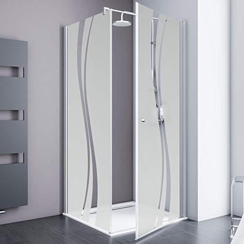 Schulte Duschkabine Alexa Style 2.0 Drehtür mit Seitenwand, inklusive Duschwanne 80x80 cm, Sicherheitsglas ESG Dekor Liane inkl. Fixil-Glassiegel, EP3215045 01 970 24