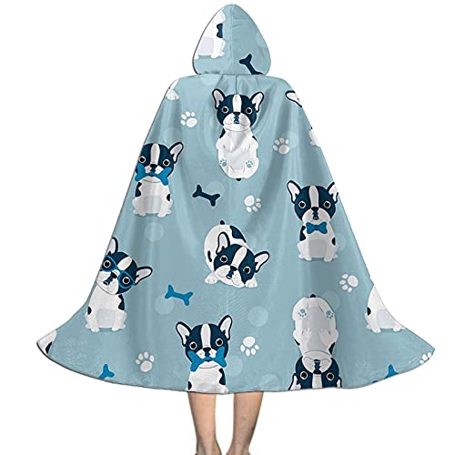 Cute Cartoon Boston Terrier Kids Hooded Cloak Cape For Halloween Party Role Play Cosplay Costume For Kids Boys Girls