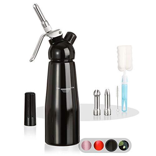 Amazy Dispensador de nata montada - Incluye 5 accesorios decorativos de acero inoxidable y 2 cepillos (Negro 500 ml) - Sifon de cocina para crema, nata, espuma y soda.