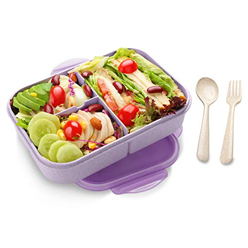 Bento Box for Adults, 1150ML Bento Lunch Containers for Kids Leakproof & Shockproof, Extra 2 silicone Seals, Microwave/Dishwasher/Freezer Safe, BPA-Free and Food-Safe, Made from Wheat Fiber (Purple)