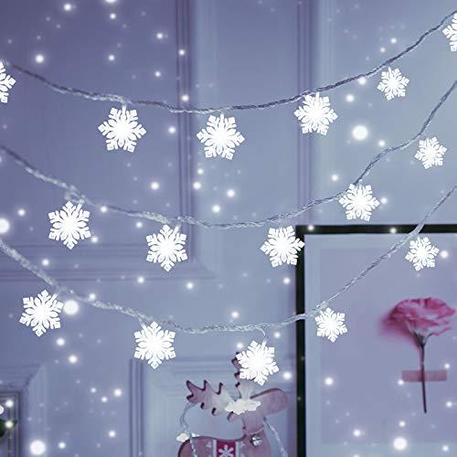 Lichterkette Schneeflocke, VOKSUN 8M 50 LED Weihnachten Schneeflocke Lichterketten mit Stecker, 8 Modi&Fernbedienung, Wasserdicht für Außer/Innen Dekoration Weihnachtsbaum, Party, Garten (Kaltes Weiß)