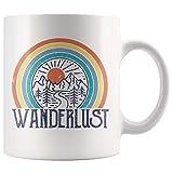 N\A Tazza Wanderlust per Gli Amanti dei Viaggi, Regalo per Tazza da caffè all'aperto, Amante dell'escursionismo in Campeggio Tazza da tè Stile Anni '70 Vintage retrò 11 Once