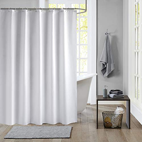JRing Shower Curtain Polyester Fabric Machine Washable with 12 Hooks 72x72 Inch (White)